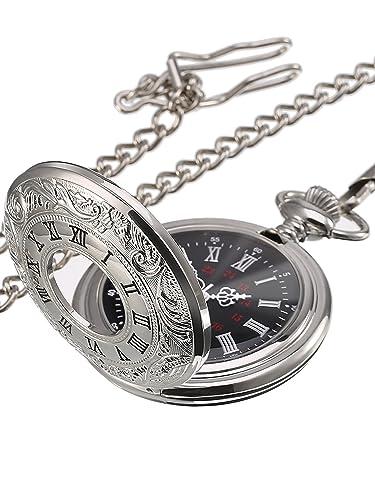 Reloj de Bolsillo de Cuarzo Plateado Clásico de Números Romanos con Cadena (Dial de Color