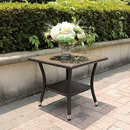 Patiorama Outdoor Aluminum Frame Square Glass Top Wicker Coffee Table, Espresso Brown