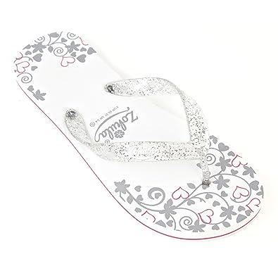 fba5de5af2ebf2 Zohula Just Married Wedding Flip Flops (Medium 5-6)  Amazon.co.uk ...