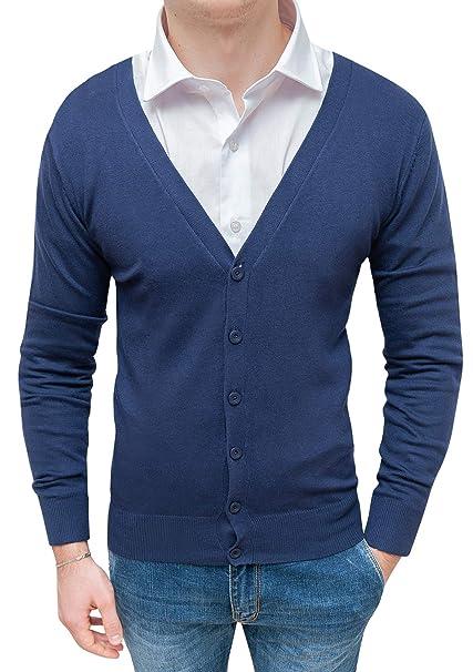 00c75076fd Cardigan maglione uomo slim fit casual con bottoni: Amazon.it ...