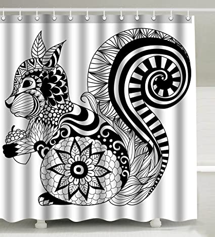 Wknoon 72 X Inch Shower Curtain With Hooks Cute Little Squirrel Drawn Zentangle