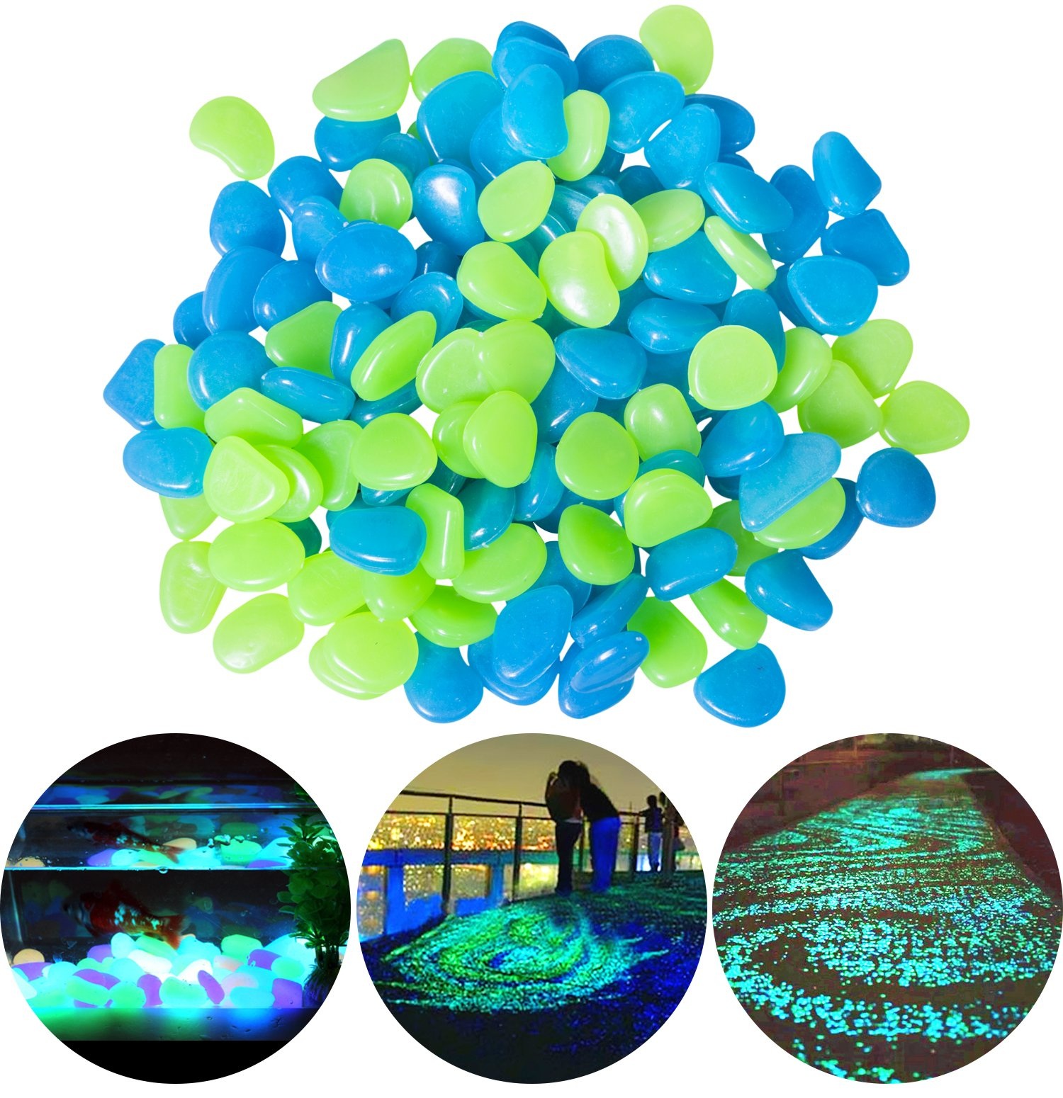 CandyHome 200Pack Glow in the Dark Garden Pebbles for Walkways Outdoor Decor Aquarium Fish Tank, Glow Stones Rocks for Path Lawn Yard Outdoor Garden Decorative Stones (Blue & Green) by CandyHome