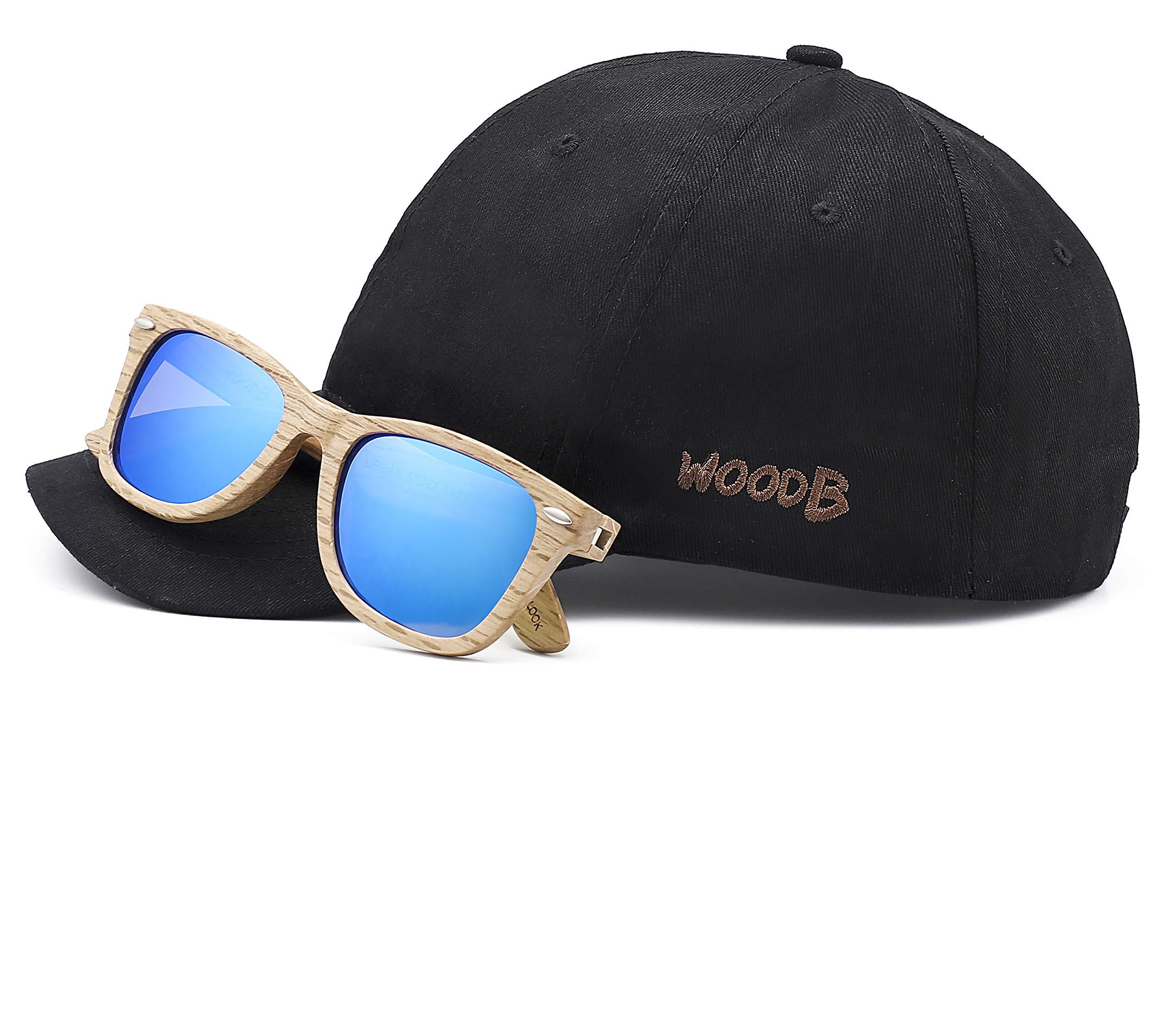 Real Wood Sunglasses Wayfarer UV-400 Polarized Lenses Plus Cap in Gift box
