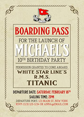 Titanic Boarding Pass Birthday Party Invitations Christmas Gifts 2018