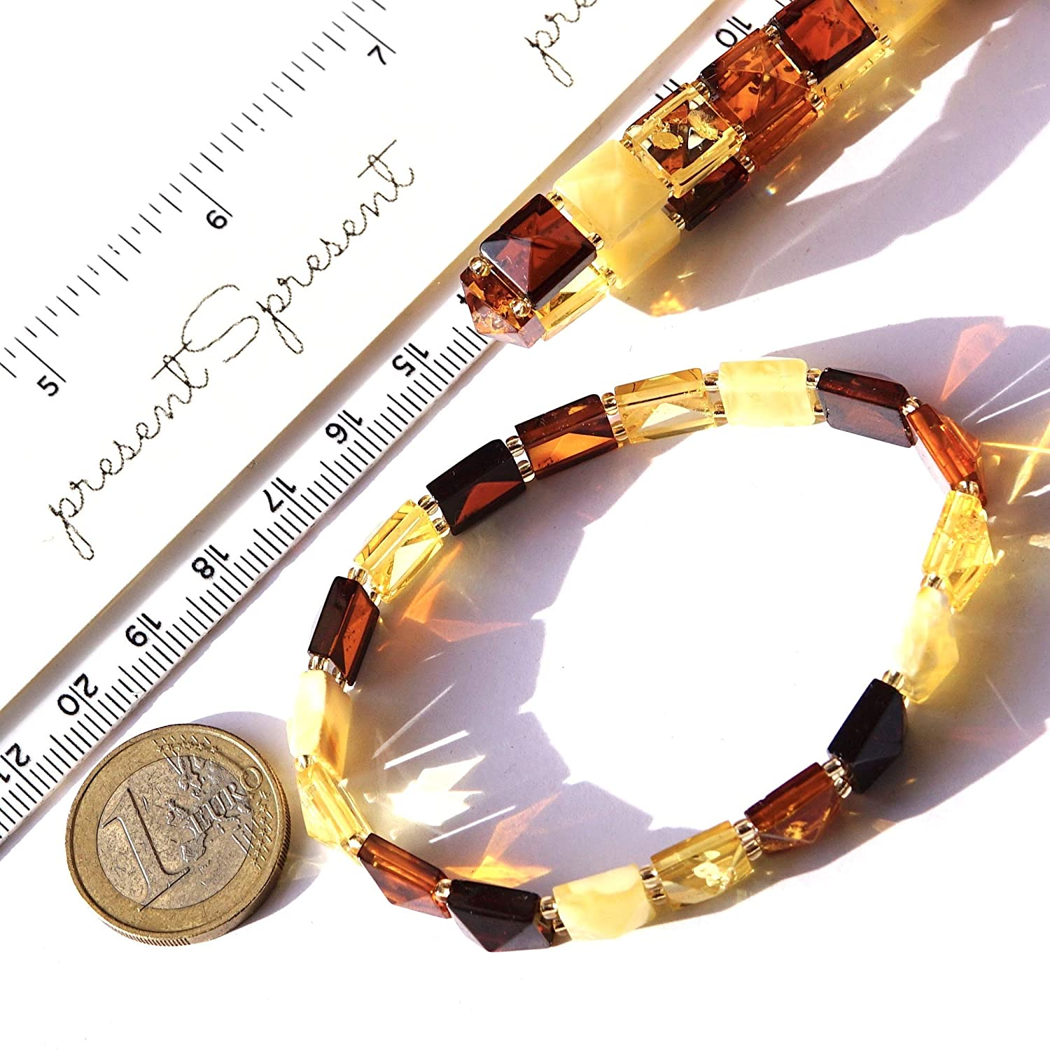 Baltic Amber Multicolor Stretchable Bracelet for Woman