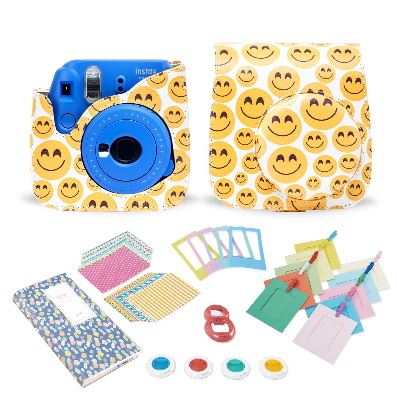 Kamera 7 in 1 Fujifilm Instax Mini 8 9 Accessory Bundle set Gift Pack, Forest instax mini 8 Camera Case with Shoulder Camera Strap and more (Emoji)