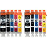 2 Compatible Set of 5 Canon PGI-550 & CLI-551 Printer Ink Cartridges (10 Inks) - Black / Cyan / Magenta / Yellow for Canon Pixma iP7250, iP8750, iX6850, MG5450, MG5550, MG5650, MG6350, MG6450, MG6650, MG7150, MG7550, MX725, MX925