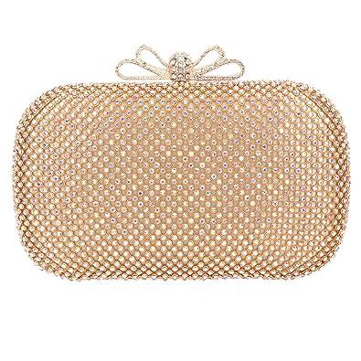 Fawziya Bow Clutch Purse Rhinestone Evening Bags And Clutches For Wmen-AB  Gold f1d91414d215