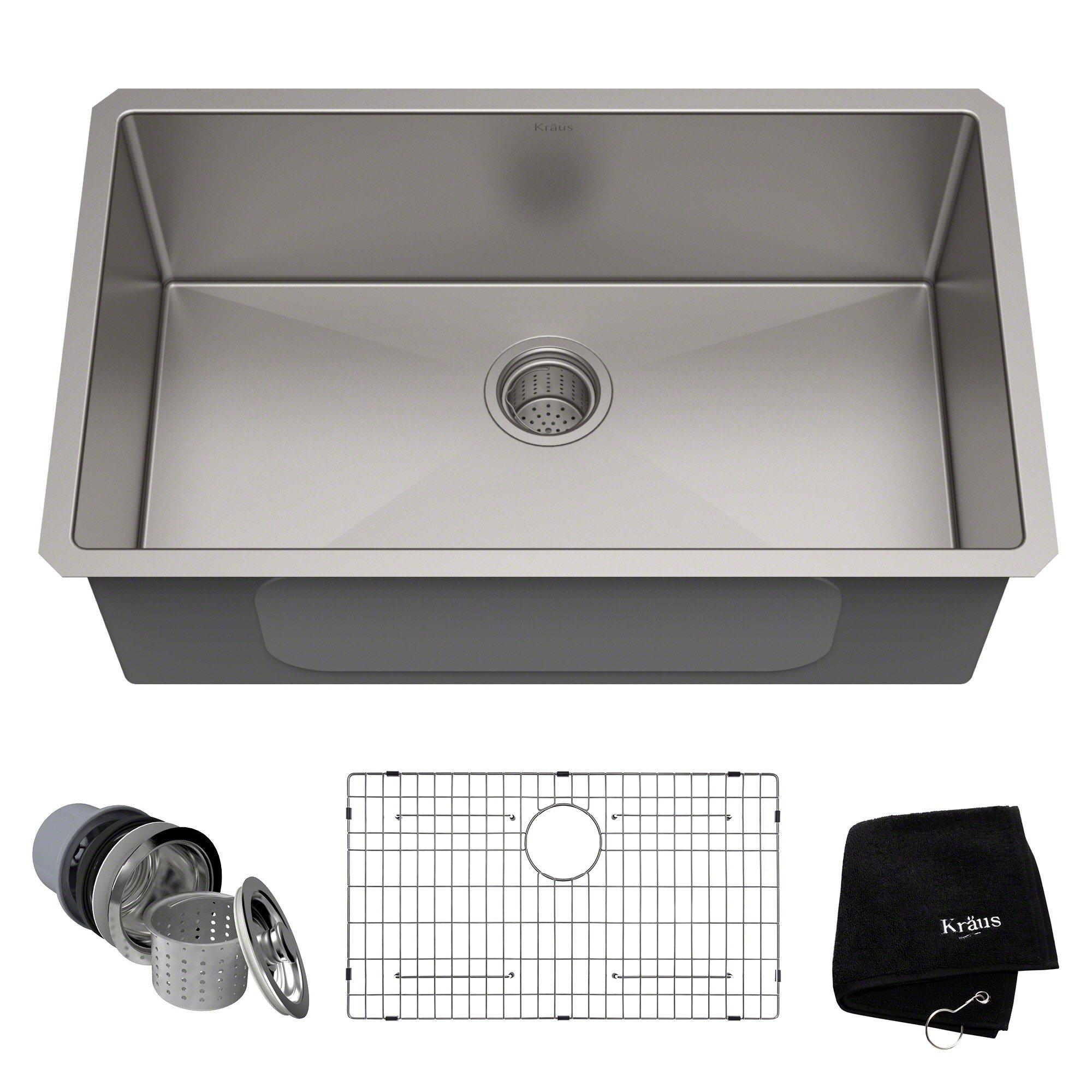 KRAUS KHU100-30 30-inch 16 Gauge Undermount Single Bowl Stainless Steel Sink by Kraus