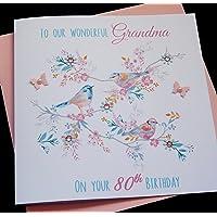 Handmade Personalised Vintage Bird Birthday Card- Nanny Granny Grandma Auntie Sister 60th 70th 80th 90th 100th etc