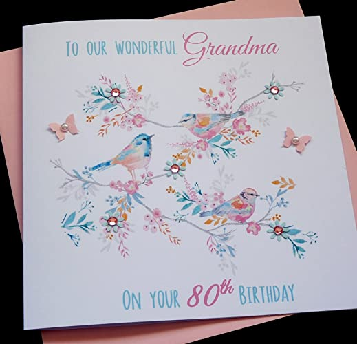 Handmade Personalised Vintage Bird Birthday Card Nanny Granny Grandma Auntie Sister 60th 70th 80th 90th