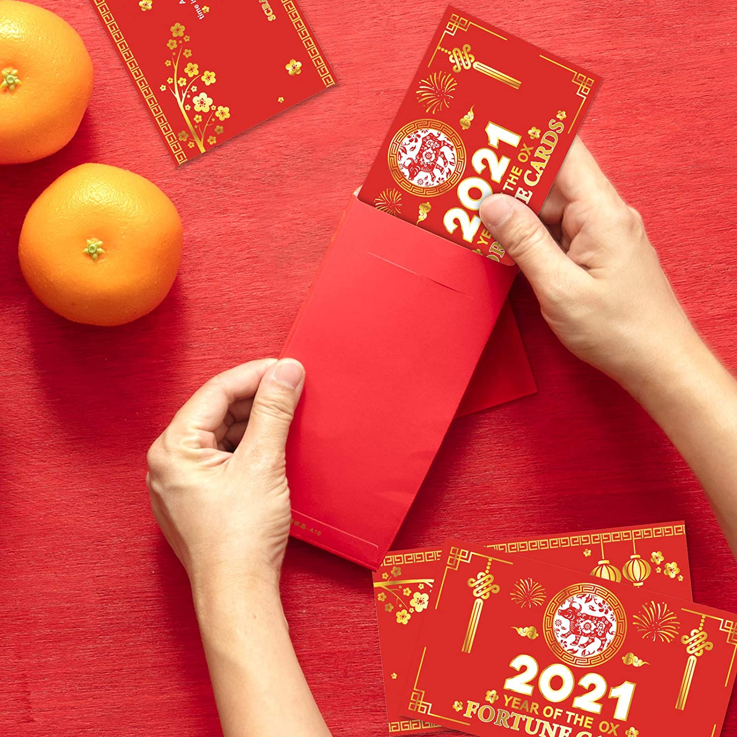2021 Year of The Ox Party Game Supplies Kit Chinese New Year Party Game Set 36PCS Chinese New Year Scratch Off Fortune Cards
