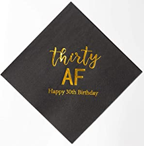 Crisky 30th Birthday Napkins Black Gold 30th Birthday Cocktail Napkins Beverage Napkins 30th Birthday Party Candy Table Decoration, 50 Count, 3-Ply