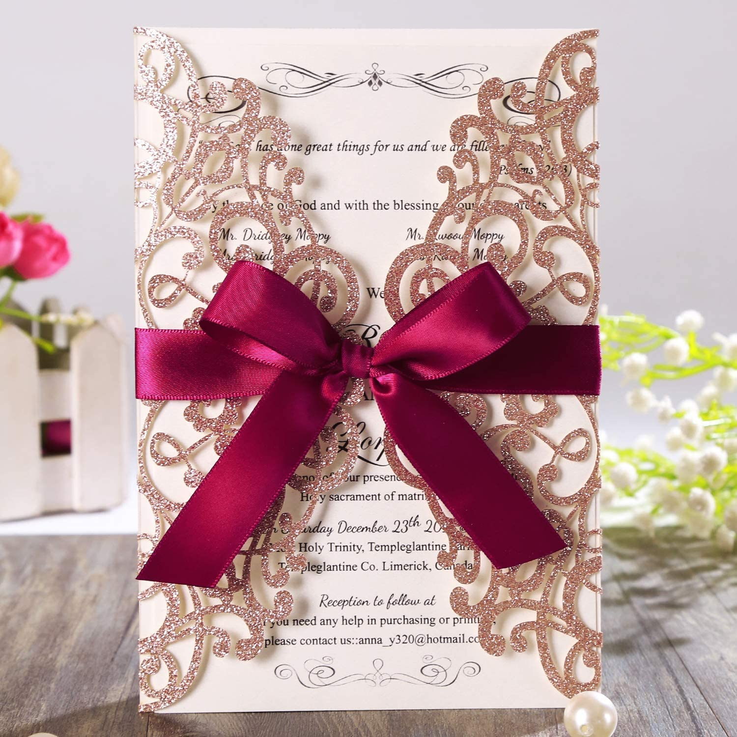 """Hosmsua 3x Laser Cut Lace Rose Drill Wedding Invitation Cards 3"""" x 3.3""""  with Burgundy Ribbon and Envelopes for Bridal Shower Engagement Birthday"""
