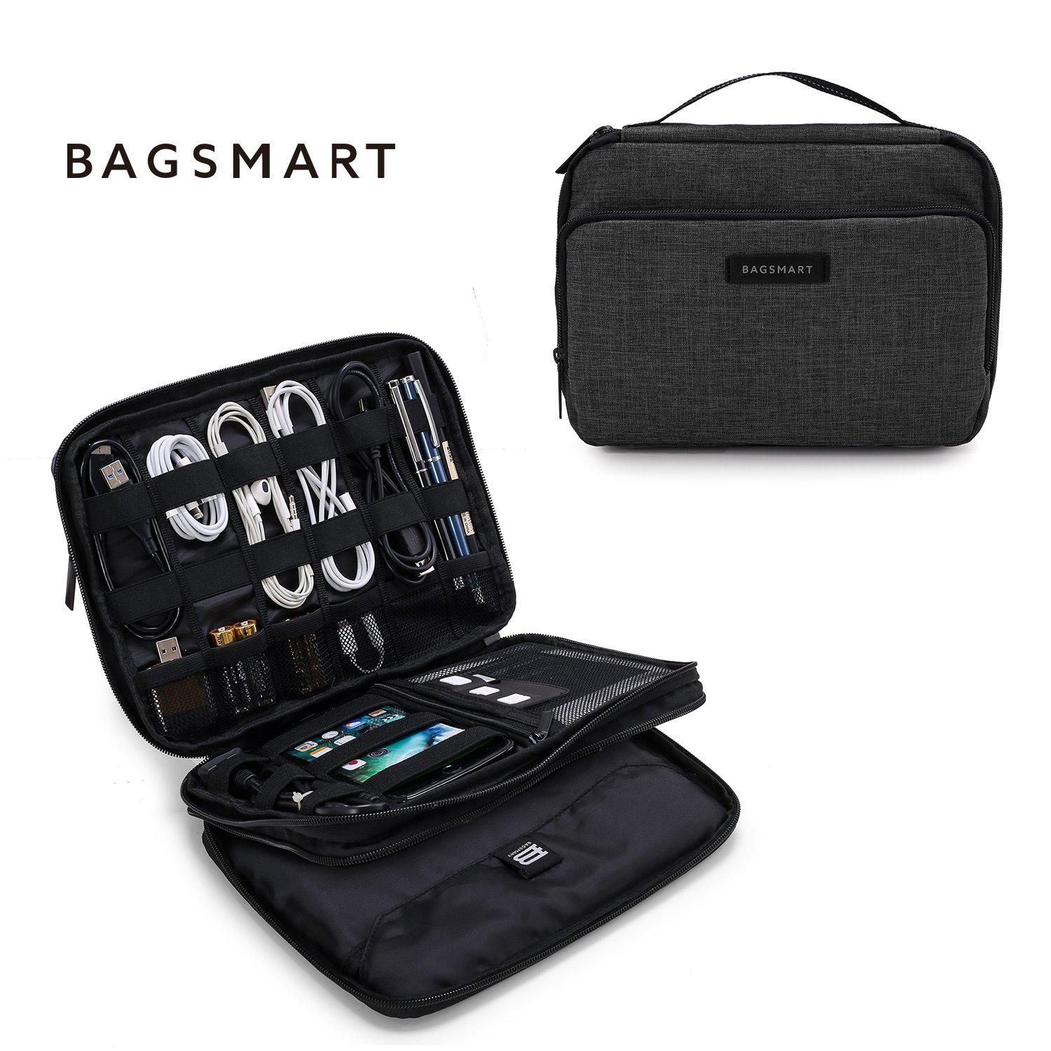 BAGSMART 3-layer Travel Electronics Cable Organizer Bag for 9.7'' iPad, Hard Drives, Cables, Charger, Kindle, Black