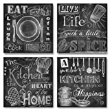Amazon Price History for:Beautiful, Fun, Chalkboard-Style Kitchen Signs; Messy Kitchen, Heart of the Home, Spice of Life, and Cook Much; Four 12x12in Paper Prints (Printed on paper and made to look like chalkboard)