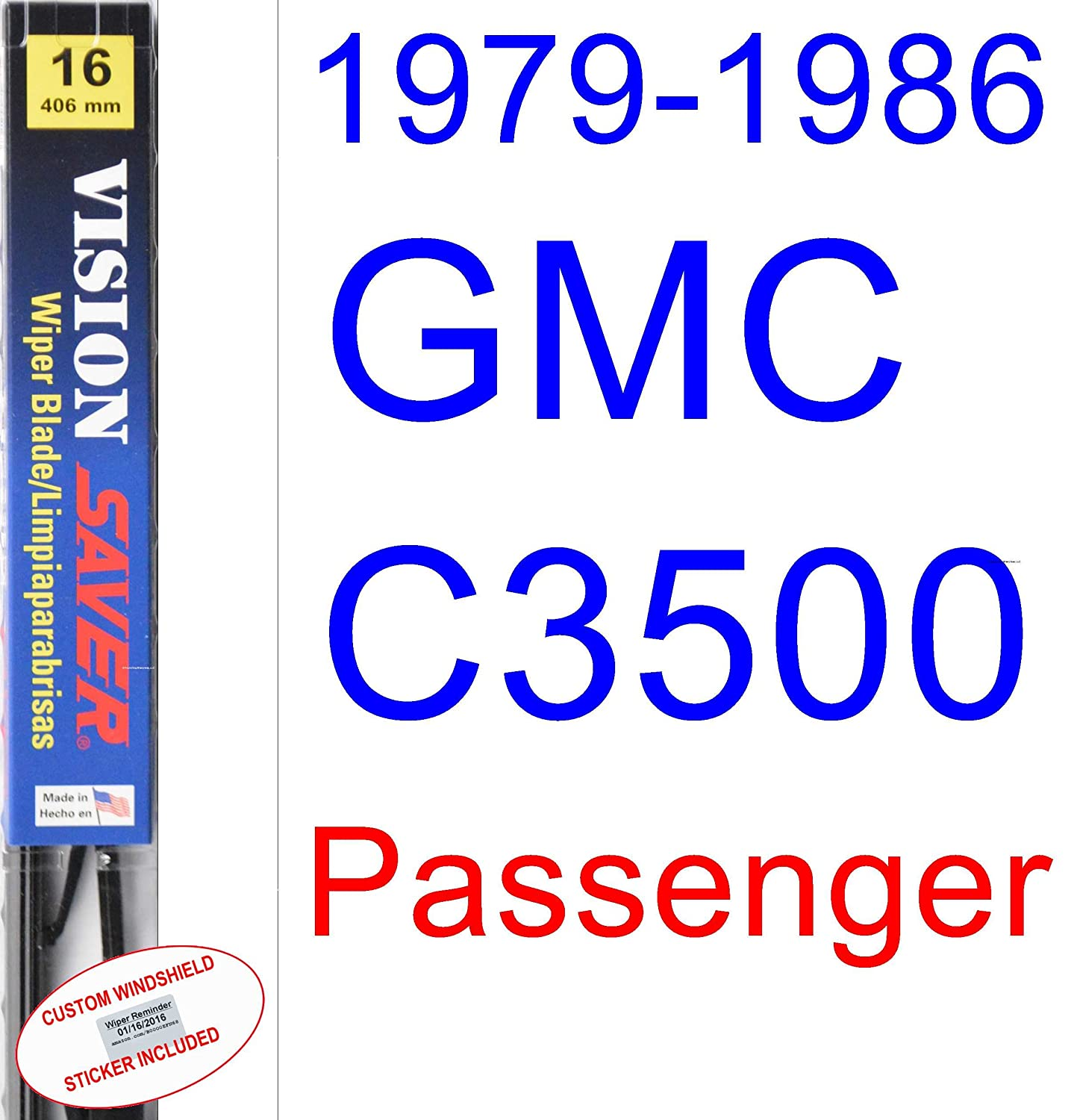 Amazon.com: 1979-1986 GMC C3500 Wiper Blade (Passenger) (Saver Automotive Products-Vision Saver) (1980,1981,1982,1983,1984,1985): Automotive