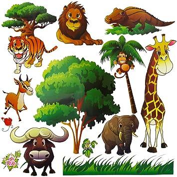 Wild Safari Animal Wall Stickers for Nursery Playroom | Jungle Theme Peel u0026 Stick Lion Giraffe  sc 1 st  Amazon.com & Amazon.com: Wild Safari Animal Wall Stickers for Nursery Playroom ...