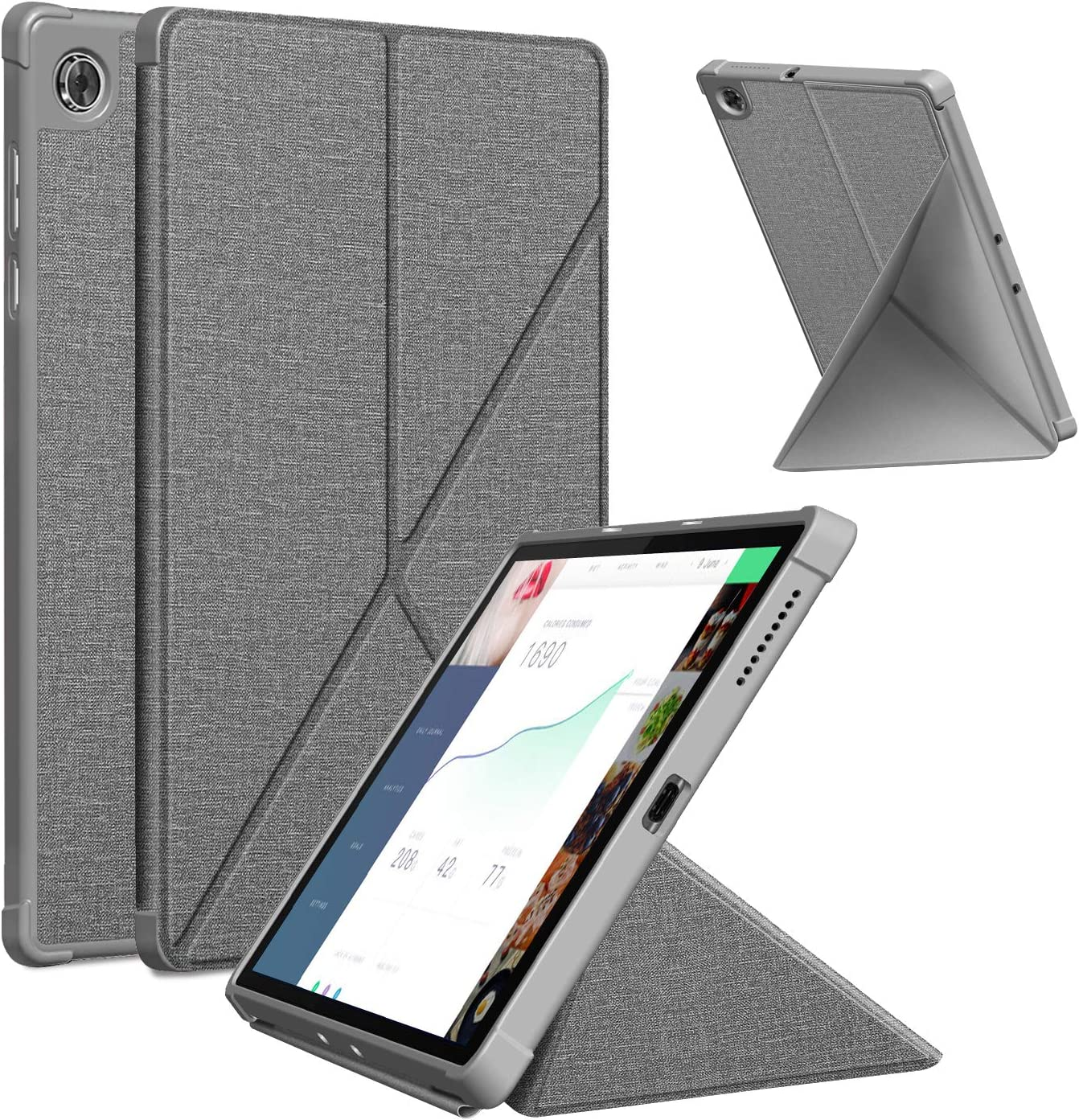 Case for Lenovo Tab M10 HD 2nd Gen 10.1 inch 2020 Standing Origami Slim Lightweight Shell Protective Cover, Soft TPU Back Cover for Lenovo Tab M10 HD TB-X306F/TB-X306X 10.1