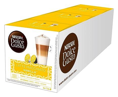 NESCAFÉ Dolce Gusto Latte Macchiato Vanilla | 48 Kaffeekapseln | Feines Vanille Aroma und leckerer Milchschaum | Arabica Robu