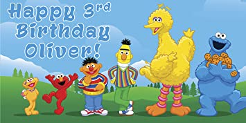 Sesame Street Personalized Birthday Banner Backdrop