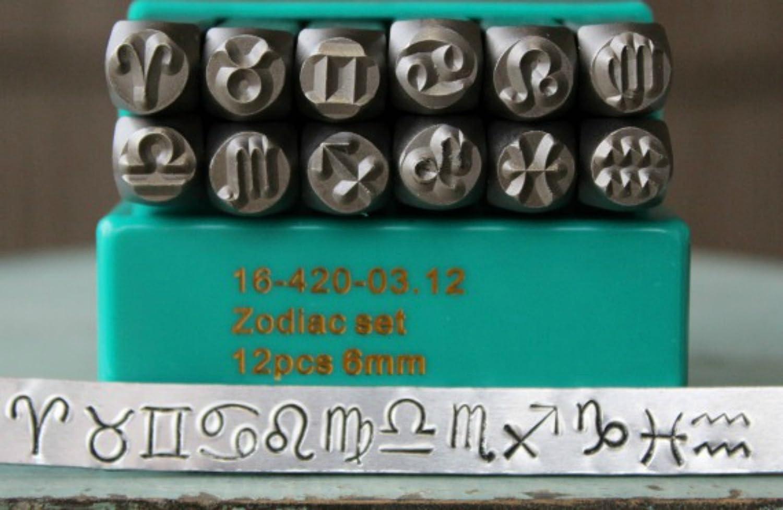 Brand New Supply Guy 6mm Zodiac 12 Piece Metal Punch Design Stamp Set CH-ZODIAC