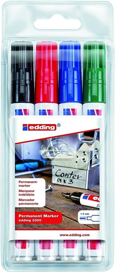 edding 3300-4S - Estuche con 4 marcadores permanentes edding 3300, Colores surtidos: Amazon.es: Oficina y papelería