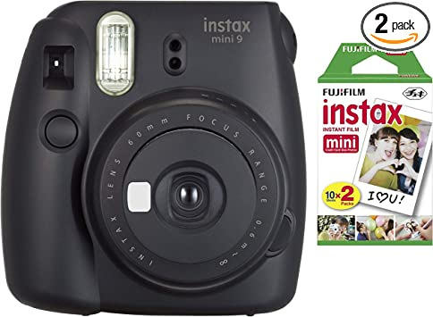 Fujifilm Instax Mini Instant Camera Dark Black With Film Twin Pack Bundle 2 Items Camera Photo