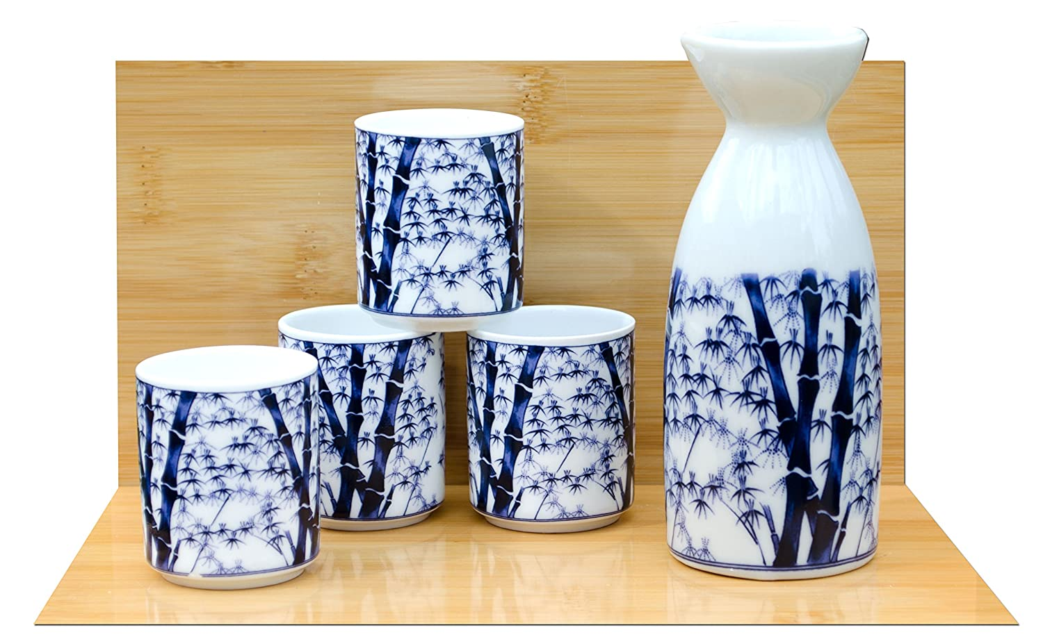 Bamboo Sake set on white - Japanese 4 cups Gifts Of The Orient GOTO®