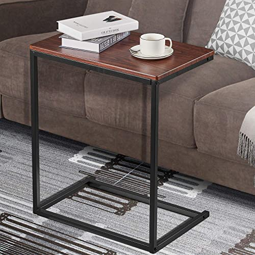 Kealive Side Table C Table Slide Under Couch Sofa Wood Finish Steel Construction Narrow End Tables Coffee Tray Laptop Holder for Living Room, Snack Desk 26 Height Bedside Couch Portable, Walnut