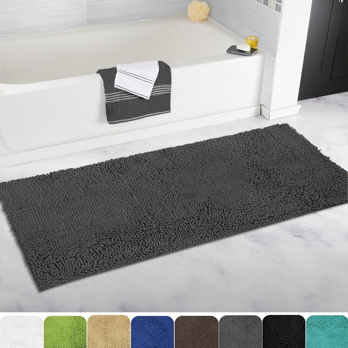Mayshine Bath Mat Runners For Bathroom Rugs,Long Floor Mats,Extra Soft, Absorbent, Thickening Shaggy Microfiber,Machine Washable, Perfect For Doormats,Tub, Shower(27.5 X47 Inch Dark Gray) by Mayshine