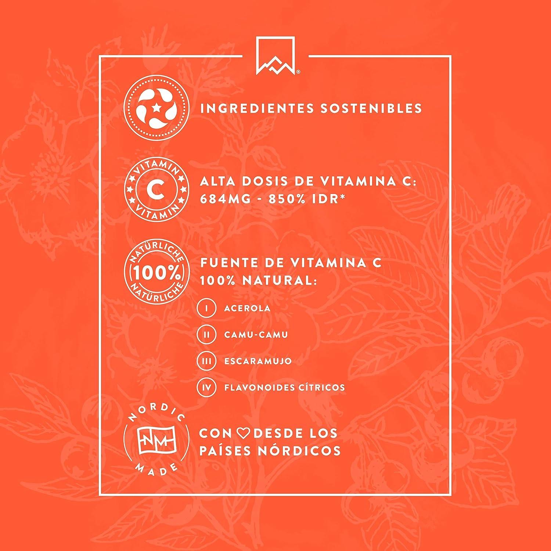 Vitamina C Natural [685 mg] - 180 Cápsulas - Con los flavonoides de la fruta cítrica - Extracto del escaramujo, de Camu Camu y de Acerola - Para la función ...