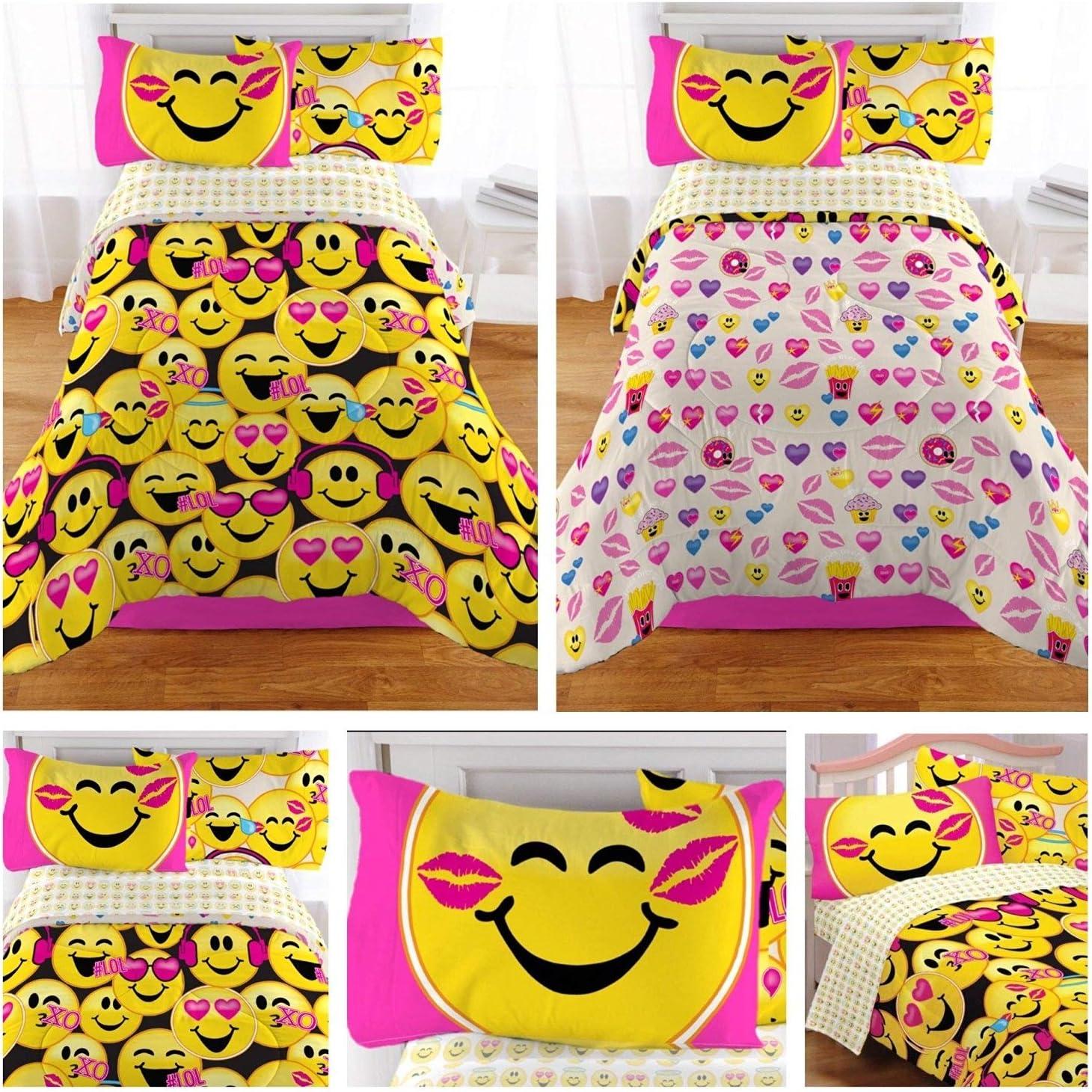 Emoji Complete 4 Piece Girls Bedding Set - Twin