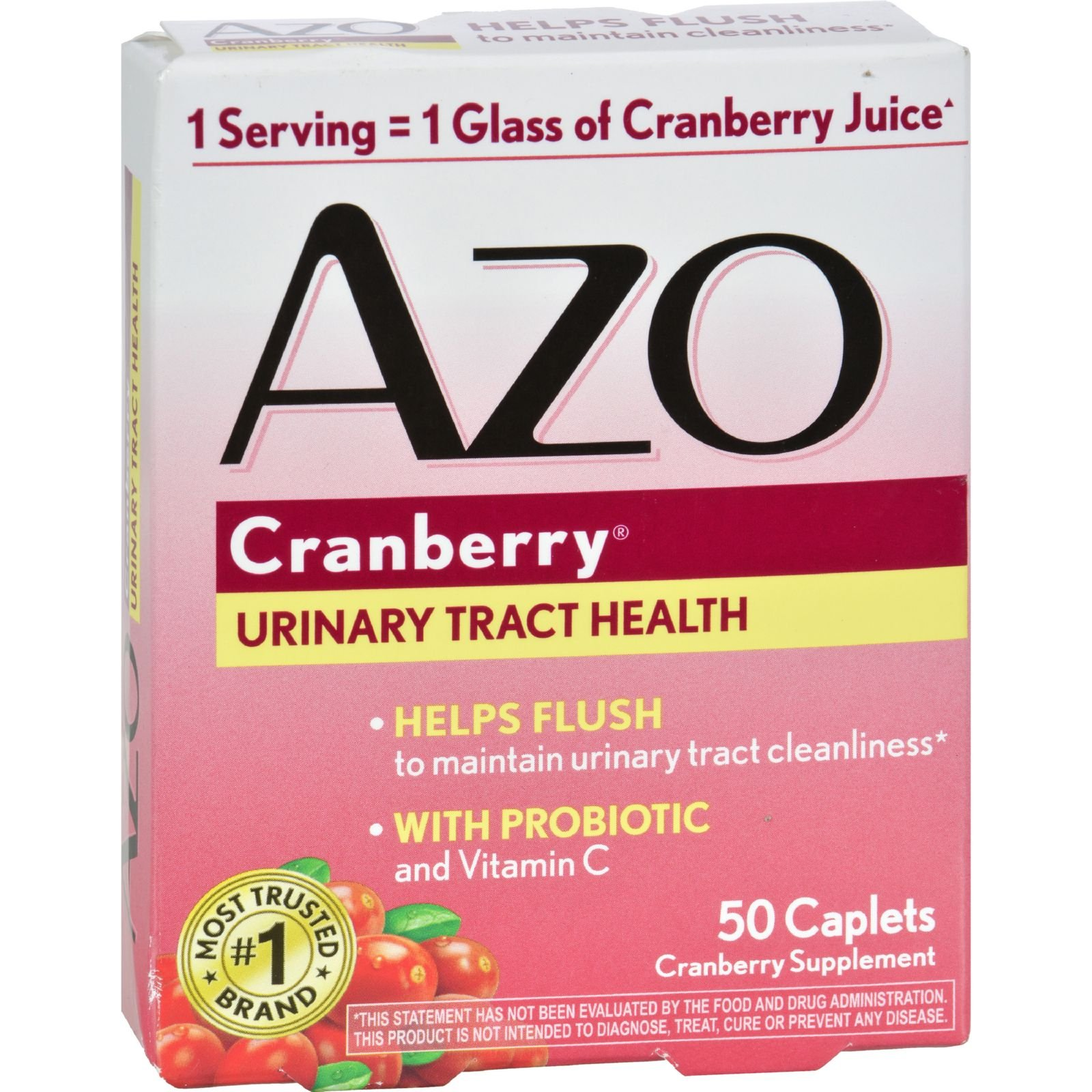 Azo Cranberry Caps - 50 Caplets - Gluten Free - Wheat Free- Maintain a healthy urinary tract - With Probiotic by AZO