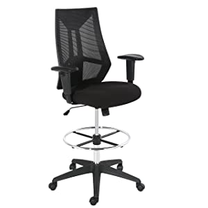 POLY & BARK EM-367-BLK Benicia Drafting Chair in Soft-Touch Fabric, Black