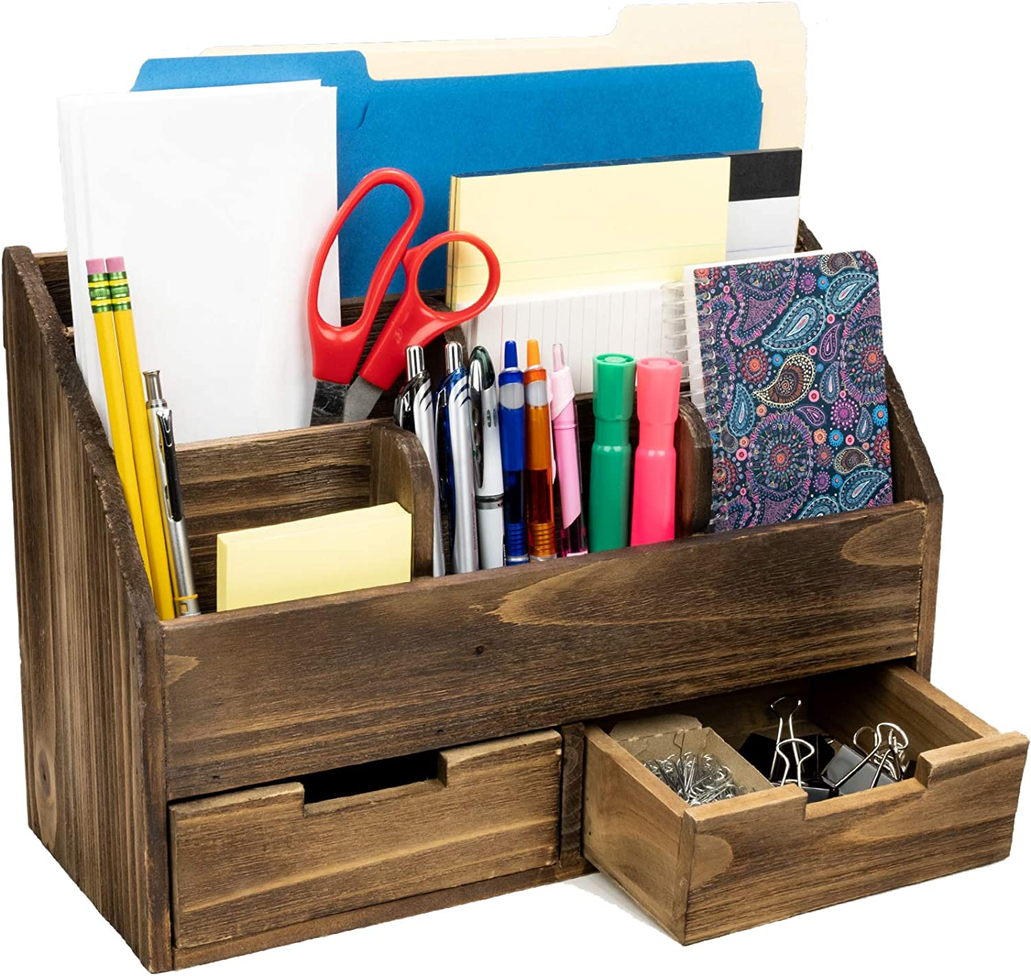 Rustic Wood Office Desk Organizer: Includes 6 Compartments and 2 Drawers to Organize Desk Accessories, Mail, Pens, Notebooks, Folders, Pencils and Office Supplies (Dark Brown)