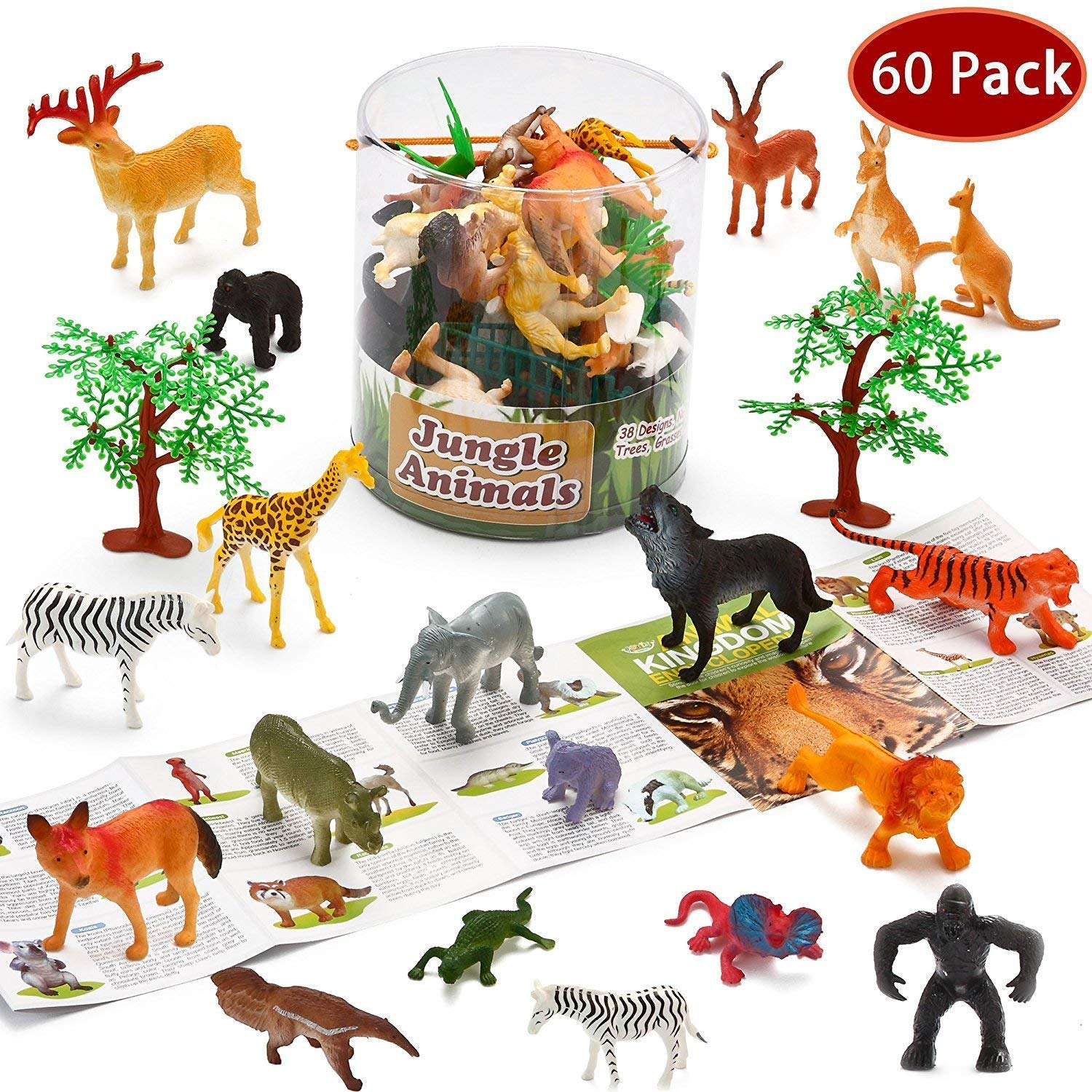 PeeNoke Toy 60 Pieces Safari Jungle Animal Figures Toddler Toy Set Realistic Wild Plastic Animal Playset - Animal Encyclopedia Included (2.5 to 5.5 Inches)