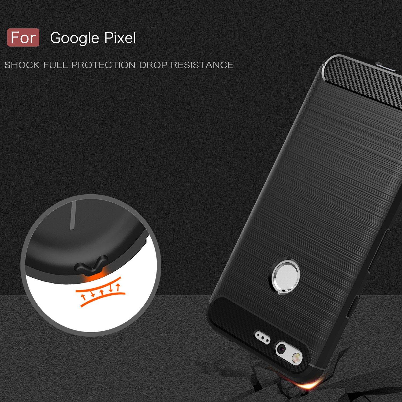 Taorey Case For Google Pixel Case, Carbon Fiber Case with Resilien Shock Absorption and Luxury Slim for Google Pixel 2016 - Black