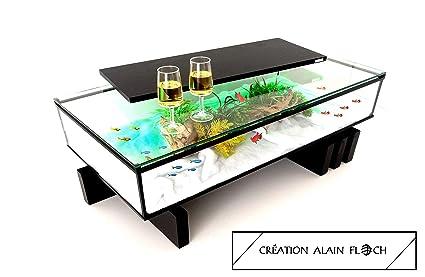 Table Basse Moderne Amarina Avec Eclairage 30 Led Plateau