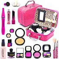sun gurg Girl Makeup Kit with Cosmetic Bag, Kids Beauty Pretend Play Toys for Girls Age Over 3, Eye Shadows, Lipstick…
