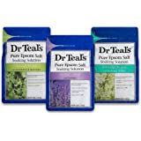 Dr. Teal's Epsom Salt Bundle, 3 Items: 1 Relax & Relief Eucalyptus Spearmint 3lbs, 1 Sooth & Sleep Lavender 3lbs and 1 Therapy & Relief Rosemary