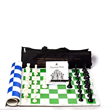 Paramount Dealz 20x 20 Fide Standards Professional Vinyl Chess Board Set with 2 Extra Queens/Chess Bag (Green and Blue)