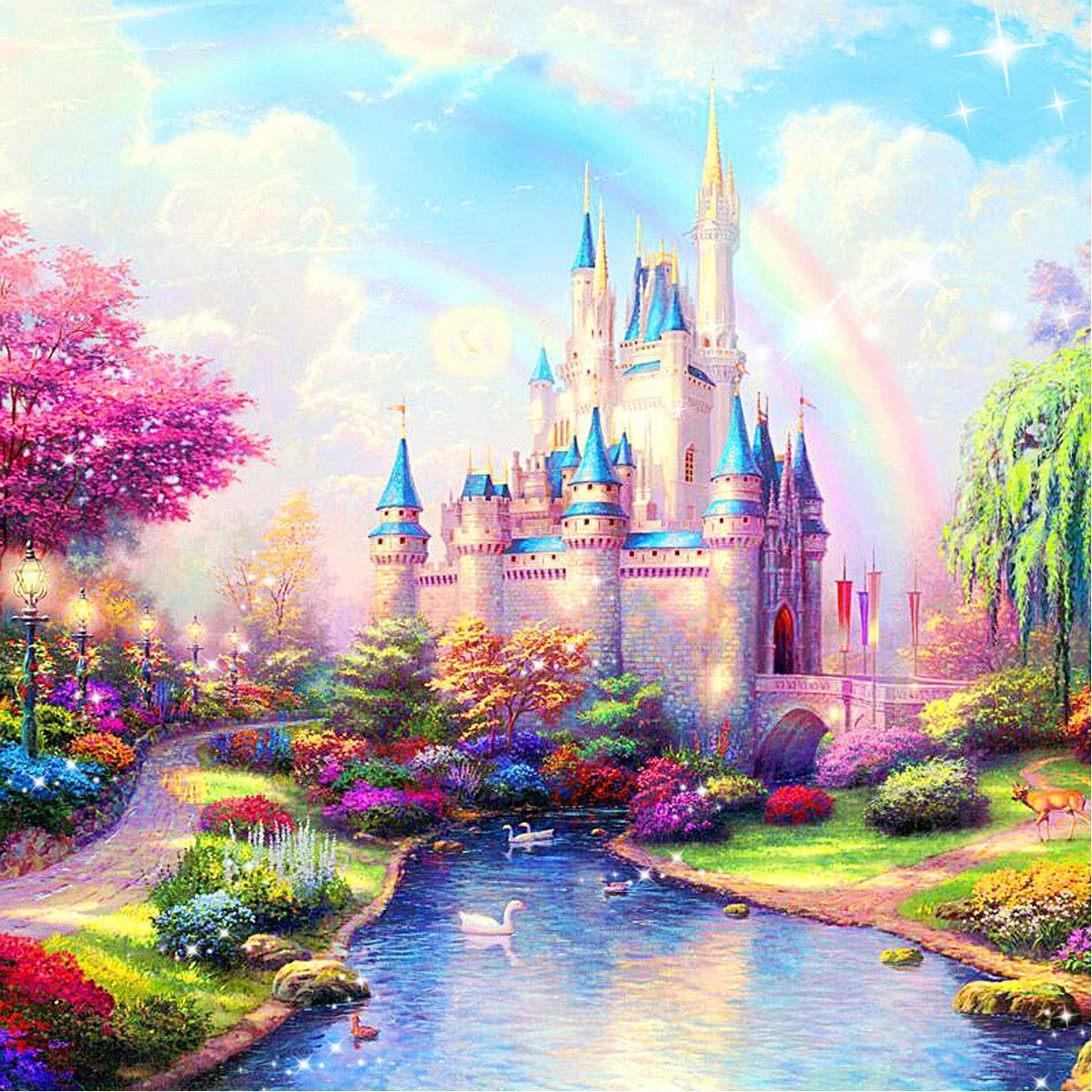 Full Drill Large Diamond Painting Kits for Adults 22x18'', 5D DIY Paint-by-Number Kits with Diamonds for Home Wall Decors Rainbow Castle 55x45 cm by ANMUXI