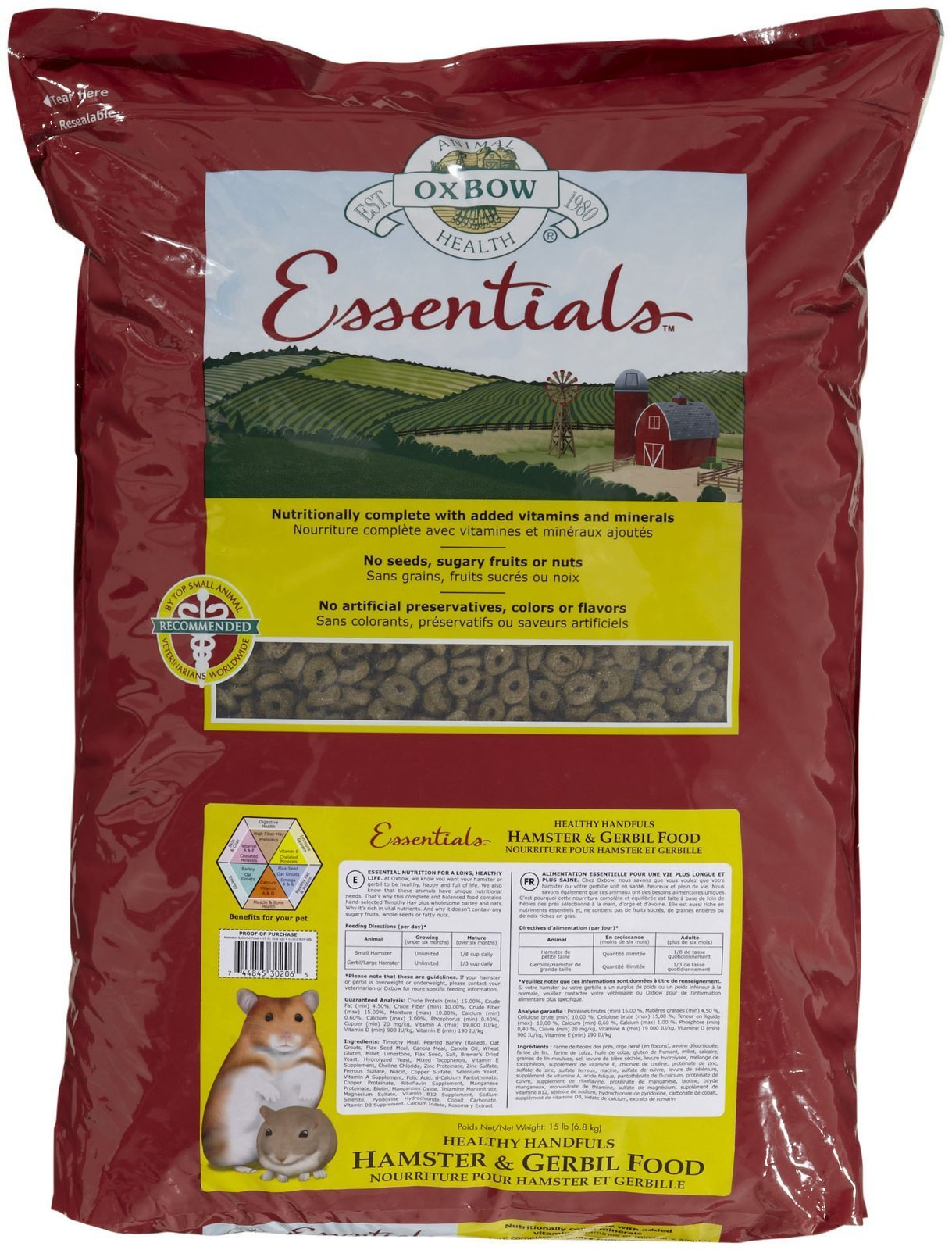 Oxbow Animal Health Healthy Handfuls Essentials Hamster/Gerbil Food, 15-Pound