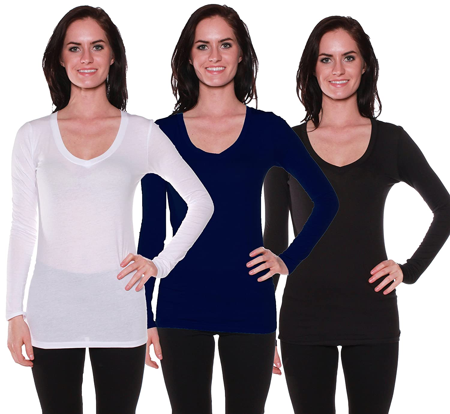 Active Basic Women's Long Sleeve V-Neck T Shirts 3 Pack(Wht/Navy/Blk-S)