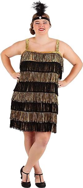 Fun Costumes Fringe Gold Flapper Dress Plus Size Costume