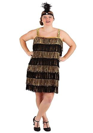 Gold and Black Flapper Dress Plus Size 1920s Flapper Dress Costume 3X