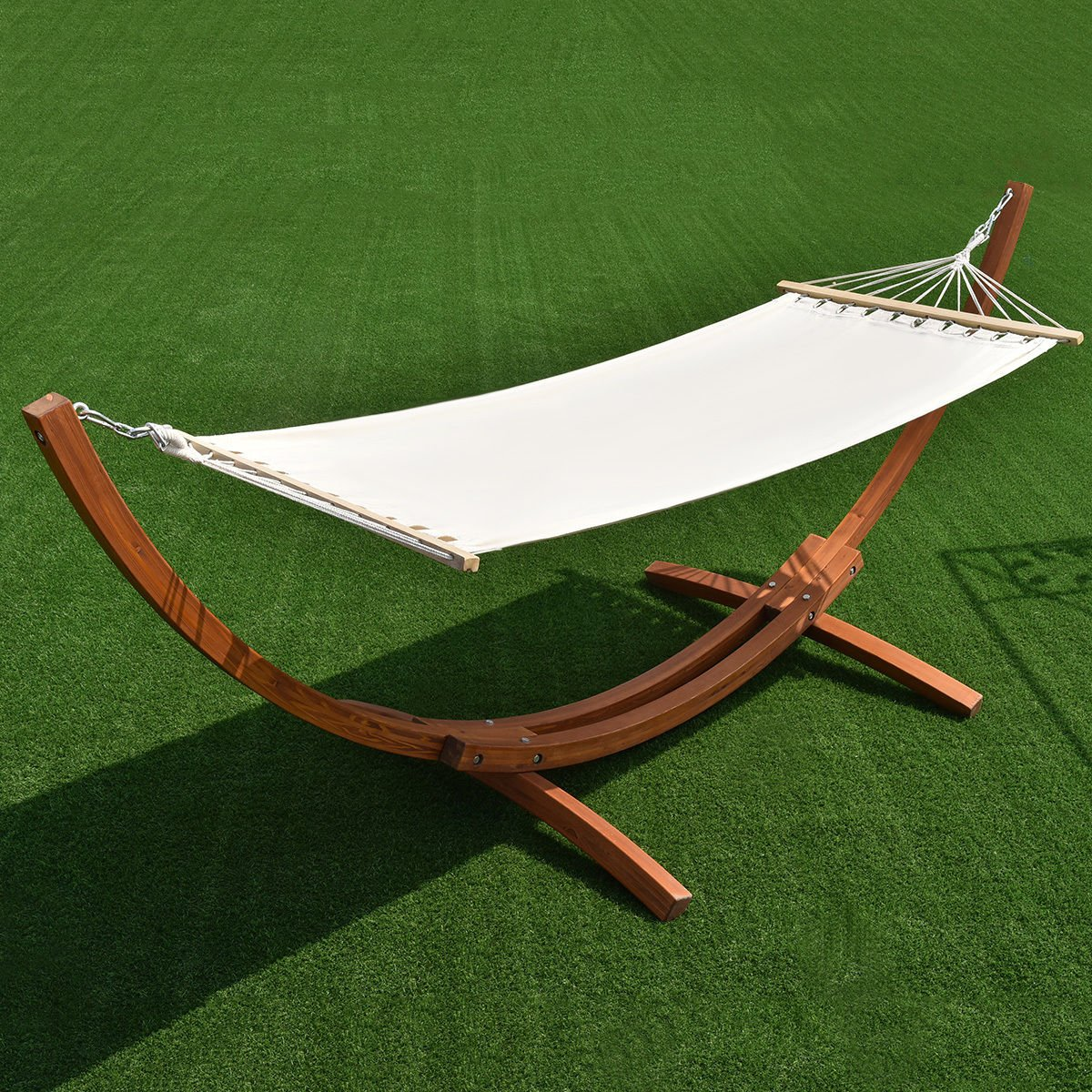 Wooden Curved Arc Hammock Stand with Cotton Garden Outdoor New 142''x50''x51''/Patio & Garden Furniture/Hammocks