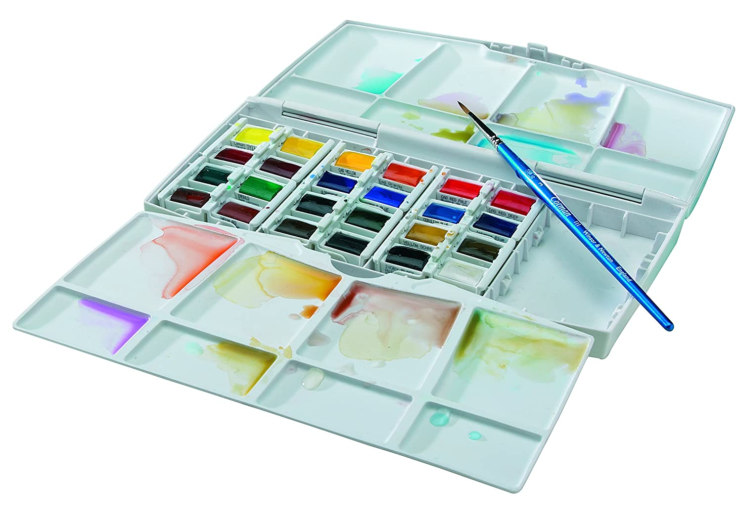 Winsor & Newton Cotman Water Colour Painting Plus Set, Set of 24, Half Pans