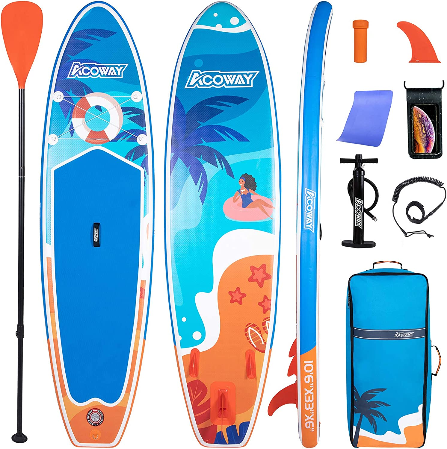 """4/""""/&6/"""" Thick Inflatable Paddleboard Starter SUP Two Bare Feet Pacifico 10/'6/"""""""